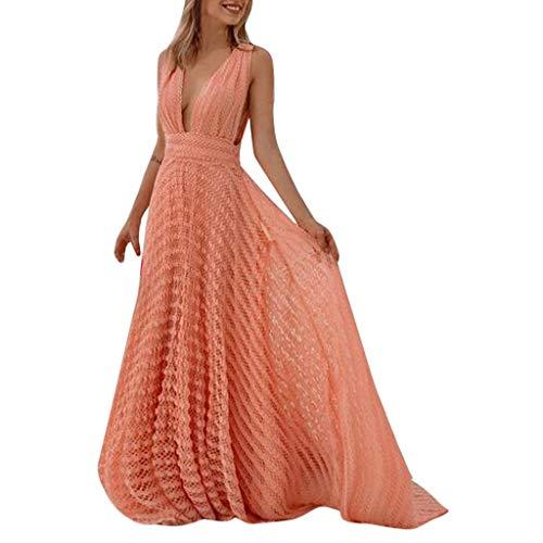 LIHAEI Partykleider Damen Elegant A-Linie Chiffon Abendkleid Mit Hohlem Design Abiballkleider Lang RüCkenfrei Strandkleider Sexy Casual Strand Kleider