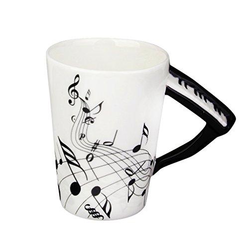 Sharplace Kreativer Musik Becher mit Klavier Griff und Schwarzem Note Muster, aus Porzellan, Ideal für Weinachten Geschenke