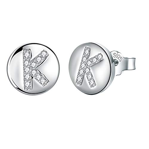 J.Endéar Buchstaben K Ohrringe Ohrstecker Silber 925 Damen Mädchen kleine Ohrringe mit Zirkonia 8 * 8mm Schmuck