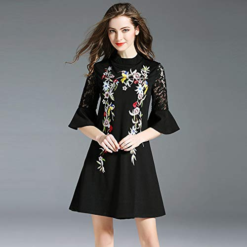 QUNLIANYI Abendkleid Abiballkleid Black Lace Dresses Flare Sleeve Hollow Out Dress Floral Stickerei...