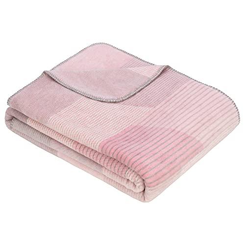 Ibena Harbin Kuscheldecke 150x200 cm - gemusterte Decke rosa grau, Leicht zu pflegene & kuschelweiche Baumwollmischung