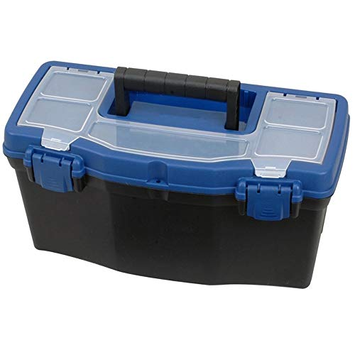 """Edward Tools Plastic Tool Box with Handle - 16"""" Heavy Duty Organizer Box with Removable Organizer Tray and Handle - Locking Lid - Clear Easy Access Top - Built in dividers - Pad Eye Lock"""