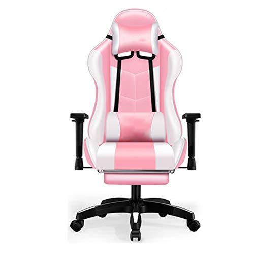 Gaming Stuhl Ergonomischer Home Office Chair Einstellbare High Back Rotating PU-Leder Racing Computer-Schreibtisch und Stuhl mit Taille Unterstützung und Kopfstütze Pink
