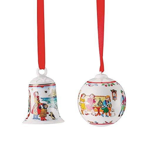 Hutschenreuther Porzellan Weihnachts Glocke 2017 und Weihnachts Kugel 2017 in den Originalverpackungen (2er Set) Design: Ole Winther
