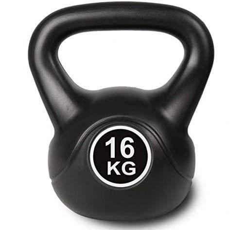 Kettlebell schwarz Kugelhantel für Krafttraining Crossfit Fitness (verfügbar in 6 kg - 16 kg) (16)