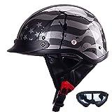 Half Motorcycle Helmet DOT Approved Open Face Motorbikes Helmet with Built-in Sun Visor