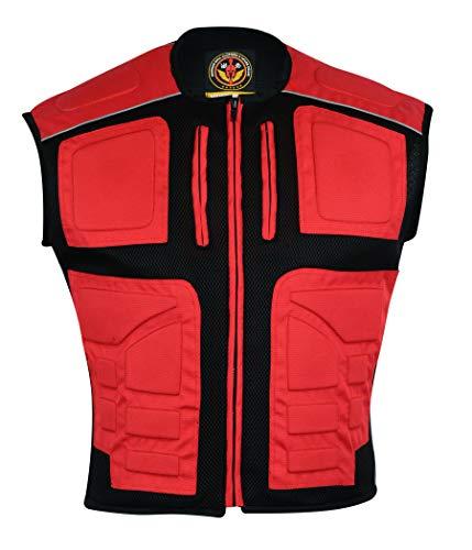 Warrior Textile Chalecos de motocicleta para hombre, chaleco acolchado para motocicleta, alta visibilidad, alta visibilidad, 3 M de alta visibilidad, reflectante, seguridad (rojo, grande)