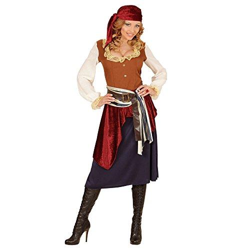Widmann 04064 - Erwachsenenkostüm Piratin, Kleid, Schärpe und Kopftuch, schwarz, Größe XL