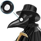 PartyCostume Doctor de la Peste Máscara Negro Cuero Nariz Larga Máscaras Steampunk Disfraz para Fiesta de Halloween Cosplay de Carnaval