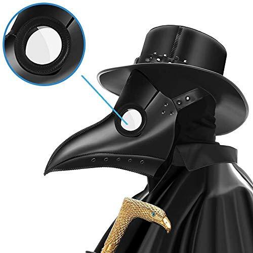 PartyCostume Doctor de la Peste Mscara Negro Cuero Nariz Larga Mscaras Steampunk Disfraz para Fiesta de Halloween Cosplay de Carnaval