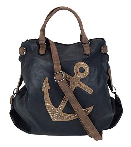 Ella Jonte Tasche schwarz braun Nieten XXL Shopper mit Anker maritim Handtasche