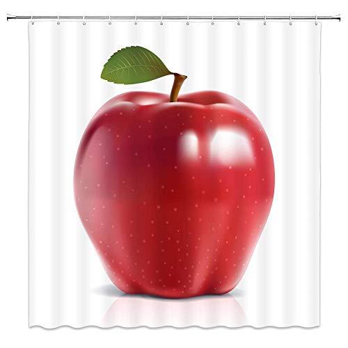N\A Roter Apfel Duschvorhang Dekor Grünes Blatt Badezimmer VorhangPolyester Stoff Maschinenwaschbar mit 12 Stück Haken