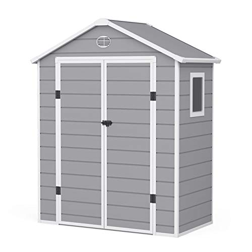 BillyOh Kingston Apex Plastic Shed Inc. Floor | Small Plastic Garden Storage | Outdoor Storage Shed | 6ft x 3ft - Light Grey