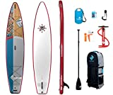 Boardworks SHUBU Raven | Touring All Water Inflatable Stand Up Paddleboard | SUP Package Includes Pump, Three Piece Paddle and Roller Bag Complete Kit | 12' 6', Red/Grey/White/Wood