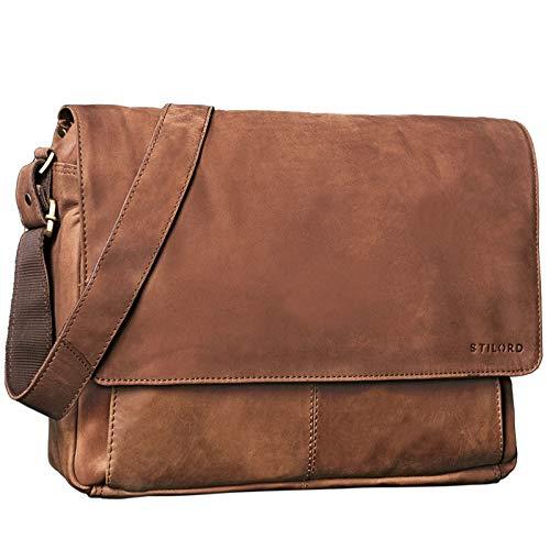 STILORD 'Lonzo' Vintage Umhängetasche echtes Büffel-Leder Messenger Bag für Herren und Damen Unitasche Büro Business Studium Leder, Farbe:Sattel-braun