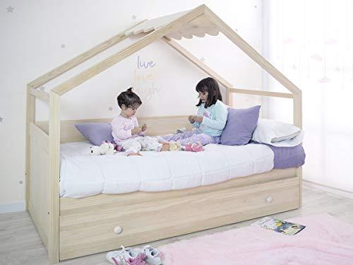 Cama nido casita color madera