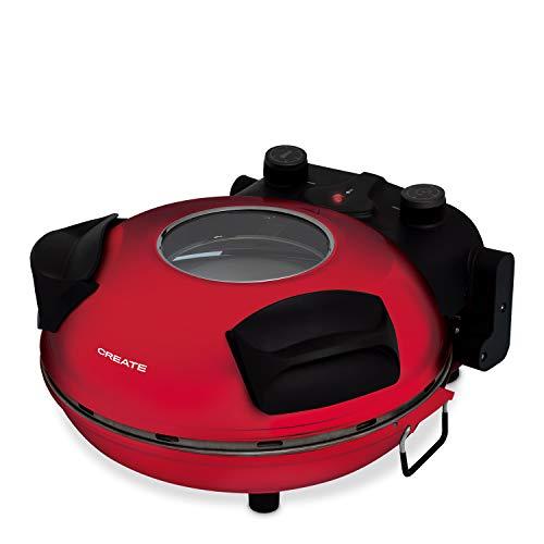 IKOHS VULCANO Pizza Maker - Forno elettrico per pizze, Base speciale in pietra per cottura della pizza, 31 CM, 1200 W, 350 °, Livelli di potenza 5, Con timer, Spegnimento automatico (Rosso)