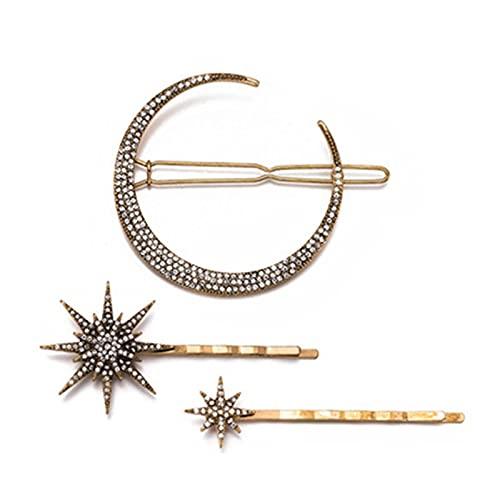 ヘアピン ヘアアクセサリーレトロ幾何学ダイヤモンド撮影月ムーンスノーフレークスターヘアピンセットワードクリップ (Color : Brass)