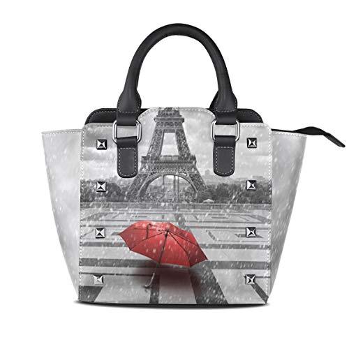 Geldbörse Shopping Einkaufstasche Handtaschen Leichter Riemen Navy Leder Eiffelturm Roter Regenschirm für Frauen Mädchen Damen Student Umhängetaschen