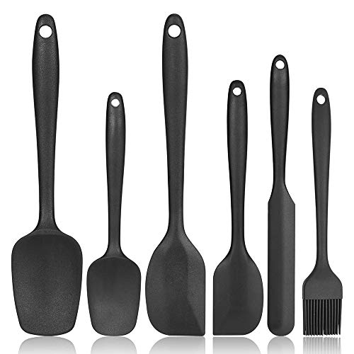 Silicone Spatula Set Heat Resistant bpa Free, Not Fade and No Taste Silicone Cooking Utensils, Dishwasher Safe black Silicone Spatula Baking, 6 Heat Resistant Rubber Spatula.