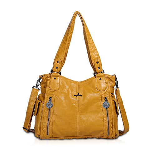 NICOLE & DORIS Schultertasche Groß Aktentasche Damen Stilvolle Sanft PU Leder Schick Shopper Handtasche Umhängetasche Tote Handtaschen Gelb