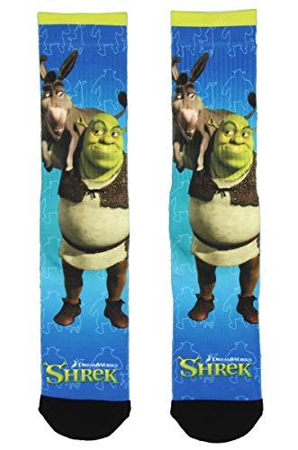 Shrek Donkey and Shrek Sublimated All Over Print Crew Socks