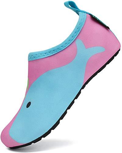 SAGUARO Escarpines Niño Escarpines Piscina Niña Antideslizante Zapatillas de Agua Ligero y Cómodo Secado Rápido Zapatos Estilo:5 Rosa Gr.26/27