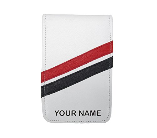Sunfish Custom Golf Scorecard and Yardage Book Holder Cover Name Engraved White with Red and Black