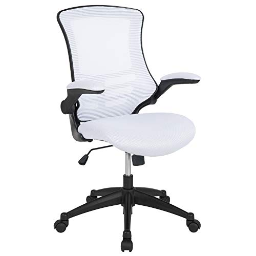 Flash Furniture Mid-Back White Mesh Swivel Ergonomic Task Office Chair with Flip-Up Arms
