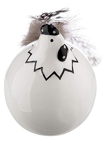 dekojohnson lustiges Deko-Huhn mit Federn Deko-Henne Deko-Vogel Hühnchen Glucke Funny Bird Tischdeko Osterdeko Osterfest weiß schwarz sitzend 6x6x8cm