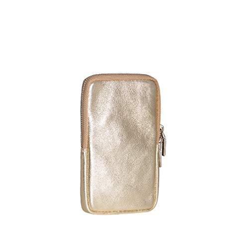 SKUTARI® - Damen Handytasche aus hochwertigem Echt-Leder,Umhängetasche,Geldbörse, Lederhandytasche mit extra langem Gurt, handgefertigt in Italien (11cm x 17cm 2cm, Gold)