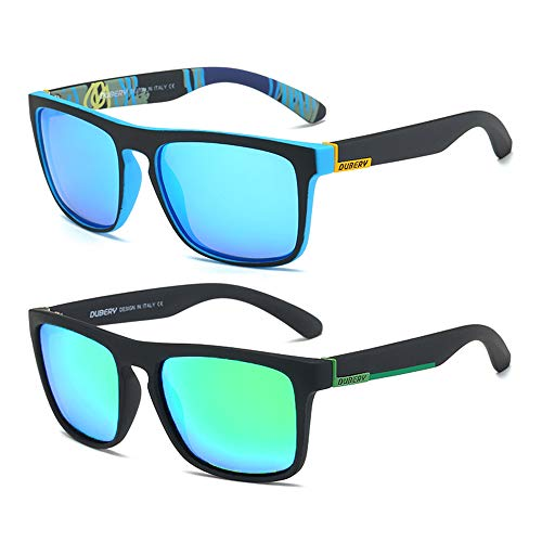 DUBERY Classic Polarized Sunglasses for Men Women Retro 100%UV Protection Driving Sun Glasses D731,2 Pack (Black/Blue+Black/Green)