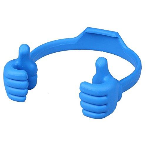Joven Soporte Silicona Para Smartphone Teléfono Móvil Soporte umarmende Manos Soporte para el escritorio con pulgar hacia arriba en color azul