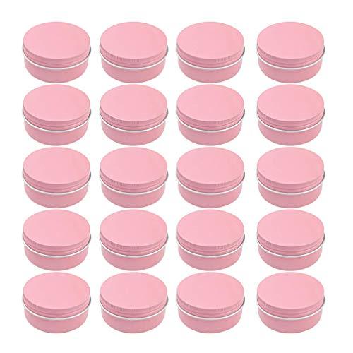 Hemoton Latas de Aluminio Rosa 50Ml Envases Vacíos Latas de Metal Redondas con Rosca Superior con Tapas de Tornillo para Velas Cosméticas Especias Dulces Granos de Café DIY Envases