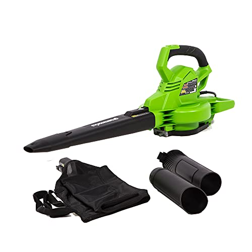 blower vacs Greenworks 12 Amp Corded 2-Speed Leaf Blower/Vacuum, 270MPH-400CFM, BLV12B00