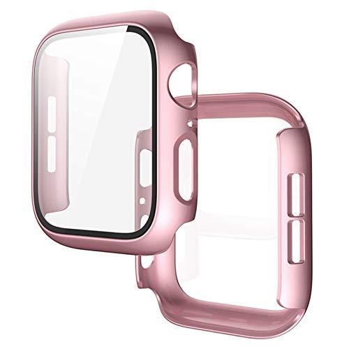 JJBFAC Carcasa protectora para Apple Watch 5 4 de pantalla completa para iwatch3/2/1, película de acero de 44 mm42 mm40 mm38 mm (color: rosa dorado, diámetro: 42 mm)