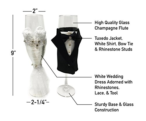 Wedding Champagne Flutes- Bride Wedding Gown and Groom Tuxedo Design - Flutes for Toasting, Wedding Gift, Bridal Shower Gifts Favors, Couples Gifts Decorations (Groom)