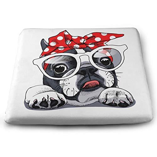 Memory Foam Pad zitkussen. Autostoel kussens om hoogte te verhogen - bureaustoel comfortabel kussen - Franse Bulldog hoofdband bril