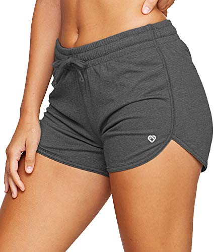 Colosseum Active Women's Simone Cotton Blend Yoga and Running Shorts (Black, Large)