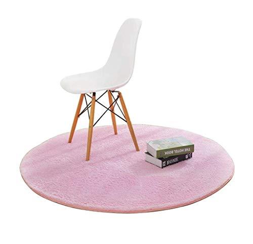 Woonkamertapijt, rond, in de slaapkamer, woonkamer, salontafel, nachtkastje, huis, stoelmat, uni (kleur: rood, maat: diameter 180 cm) Diameter 100cm Roze