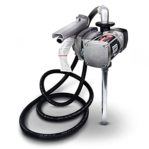 FUELWORKS Fuel Transfer Pump Kit 15GPM/57LPM DC 12V 180W 22A Rotary Vane Motor with 14' Foot Anti-Static Discharge Hose & Filter, Extensible Suction Tube, 2' Inch Bung Adapter & Aluminum Manual Nozzle