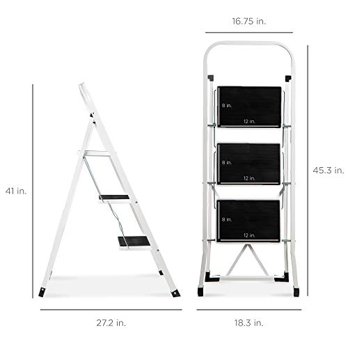 Best Choice Products 3- Step Steel Ladder, Folding Portable Step Stool w/ Non Slip Rubber Feet, Rubber Foot Pads, 330lb Capacity