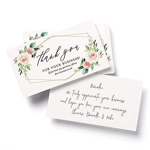 """Bliss Collections Thank You Cards for Small Businesses, 50 Pack of 2"""" x 3.5"""" Business Card Size Geo Floral Design, Express Your Appreciation for Clients and Customers Support, Easy to Read, Write On"""