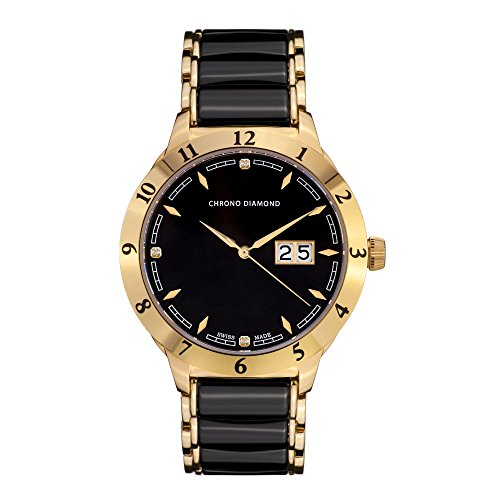 10400D Chrono Diamond Thyrso Gold IP Keramik Schwarz