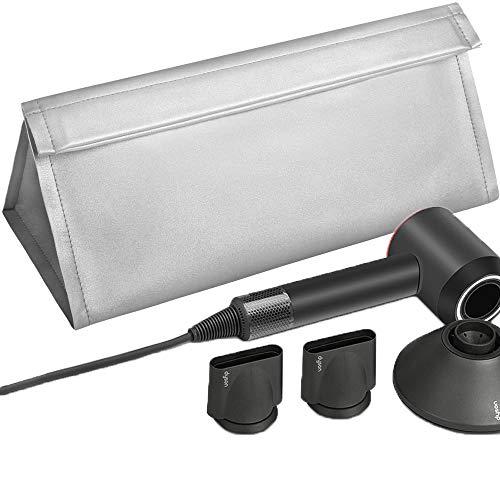Kyrio - Custodia da viaggio in pelle sintetica con chiusura magnetica, impermeabile, per asciugacapelli Dyson Supersonic, colore: Argento