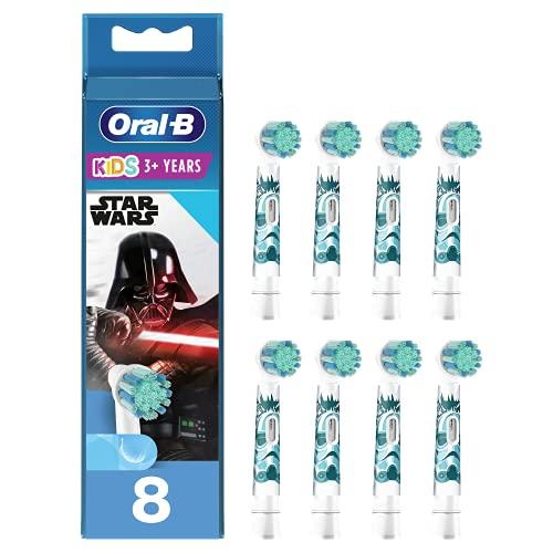 Oral-B Kids Cabezales de Recambio para Niños Mayores de 3 Años, Pack de 8 Recambios Originales con Personajes de Star Wars para Cepillos de Dientes Eléctricos