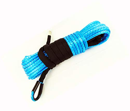 Jutemill 1/4' X 50ft Synthetic Winch Rope | Winch Cable with Sheath for ATV | Off-Road Accessories, UTV, SUV, Truck Tow/Trailer, Boat Anchor Ropes (Blue)