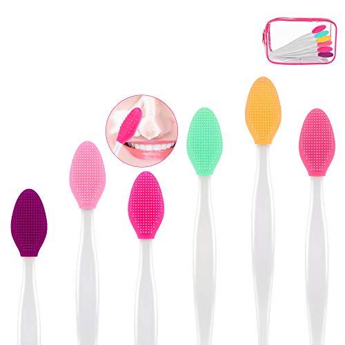 6 Stück Silikon-Peeling-Lippenpinsel Set, Silikon Lippenbürsten Werkzeug Doppelseitiger, Weicher...