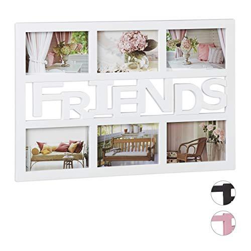 Relaxdays Bilderrahmen Freunde, Galerierahmen für 6 Fotos, Fotocollage Rahmen, quer, Kunststoff, HBT: 33x48x1,5 cm, weiß