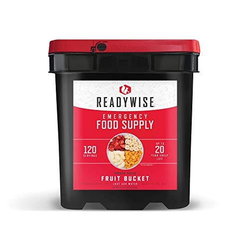 ReadyWise Emergency Food Supply, Emergency Freeze Dried Fruit Bucket, 120 Servings